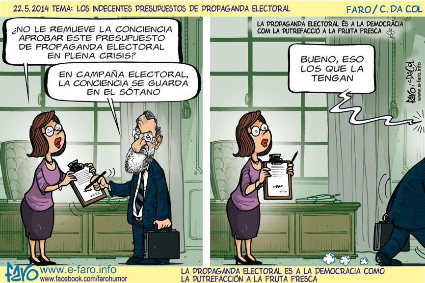 140522.FB.rajoy.secretaria.campana.presupuesto.propaganda.electoral.conciencia.crisis.% - Humor salmón