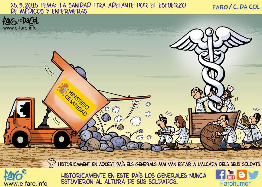 150325-FB-sanidad-medicos-enfermeras-ministerio-departament-carro-esculapio-camion-piedras% - Humor salmón